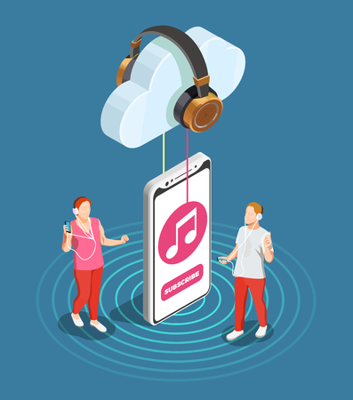 Music industry isometric concept with cloud storage symbols vector illustration