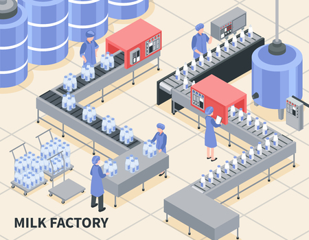 Process of milk packing on factory 3d isometric vector illustration Vectores