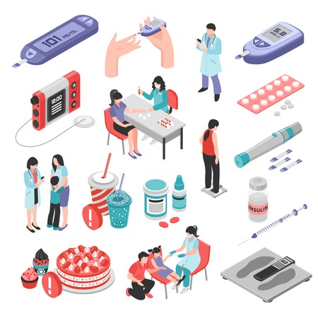 Diabetes isometric set with sugar level test medication forbidden food insulin injection weight control isolated vector illustration