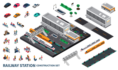 Railway station isometric constructor set of modern speed trains railroad track passenger private transport isolated elements vector illustration