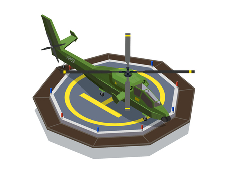 Airplanes helicopters isometric composition with images of military helicopter set on helipad touchdown site landing deck vector illustration Illustration