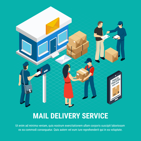 Mail delivery service isometric composition with stages of sending a parcel and receiving it vector illustration Illustration