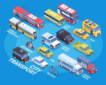 Infographics isometrico di trasporto della città con la moto dell'autobus del taxi della bicicletta del camion dell'automobile sull'illustrazione blu di vettore del fondo 3d