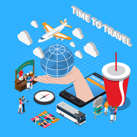 Time to travel  composition with plane compass souvenir shop globe on human palm isometric icons vector illustration