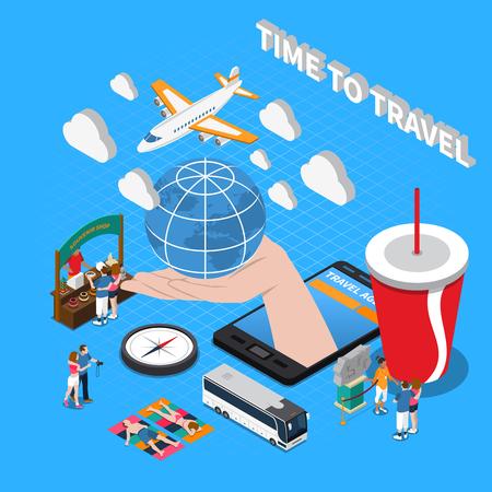 Il tempo di viaggiare la composizione con il globo del negozio di souvenir della bussola dell'aereo sulle icone isometriche della palma umana vector l'illustrazione Vettoriali