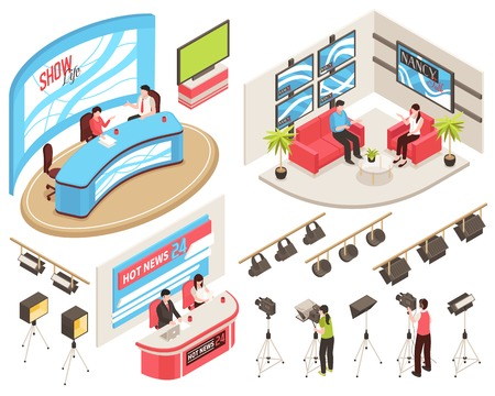 Tv studio of news and show programs, videographers with camcorders, light equipment, isometric set, isolated vector illustration Illusztráció