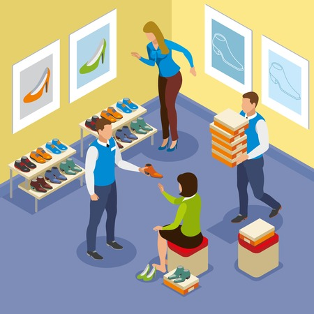 Sellers help woman with shoe buying isometric composition with interior elements vector illustration Çizim