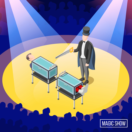 Magic trick on stage with audience, sawing of box with assistant isometric background vector illustration