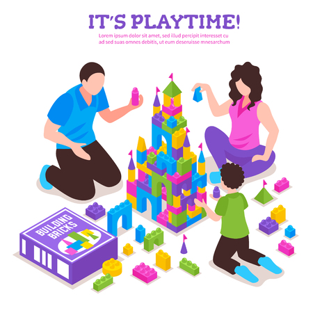 Toy constructor colorful isometric advertising poster with parents and child building castle from plastic bricks vector illustration