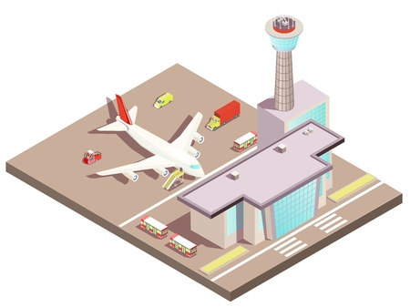 Airport building isometric design concept with control tower and landing airplane on airfield vector illustration