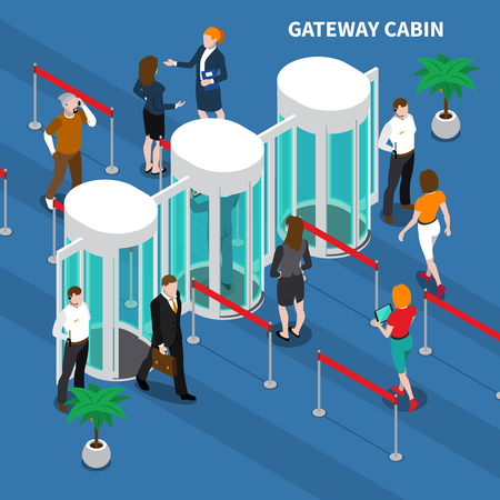 Persons passing through gateway cabin for access identification isometric composition on blue background vector illustration Ilustração