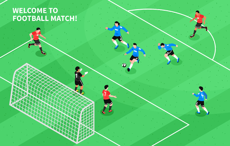 Football soccer match moment with attacking forward shooting goal isometric sport field game composition poster vector illustration