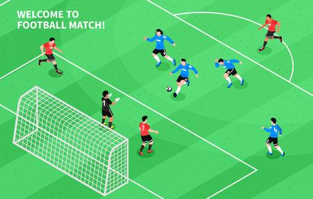 Voetbal voetbalwedstrijd moment met aanvallende voorwaarts schieten doel isometrische sport veld spel samenstelling poster vectorillustratie