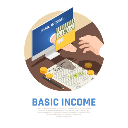 Basic income isometric round composition, monitor with hand giving social benefits vector illustration Illustration