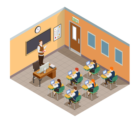 High school isometric people composition with images of students and teacher in classroom environment with furniture vector illustration Illustration