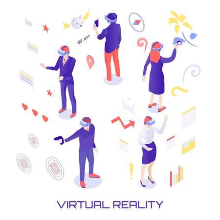 Personajes humanos en el mundo virtual durante el chat, pintura, disparos, trabajo analítico con información isométrica ilustración vectorial