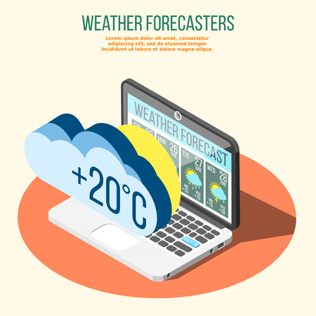 Weather forecasters isometric composition on orange circle with climate conditions prediction on laptop screen vector illustration