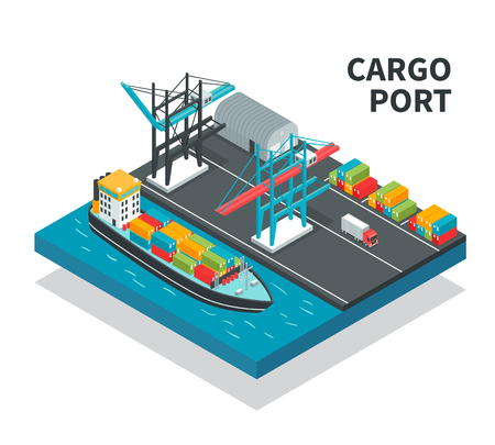 Cargo port with loading facilities, color containers, vessel with freight, truck isometric composition vector illustration