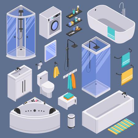Bathroom toilet sink units bathtubs shower cabins cubicles furniture accessories isometric set against dark background vector illustration