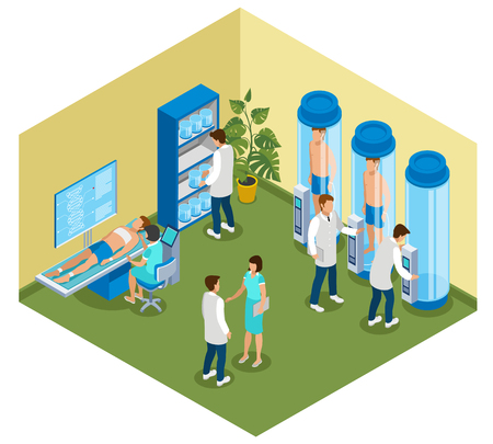 Medicine of the future isometric composition with view of hospital room with cryo chambers and people vector illustration Foto de archivo - 102746264