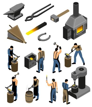 Il fabbro isometrico ha impostato con le immagini isolate delle strutture del negozio di forgiatura e il carattere umano dell'illustrazione di vettore del falsario del ferro