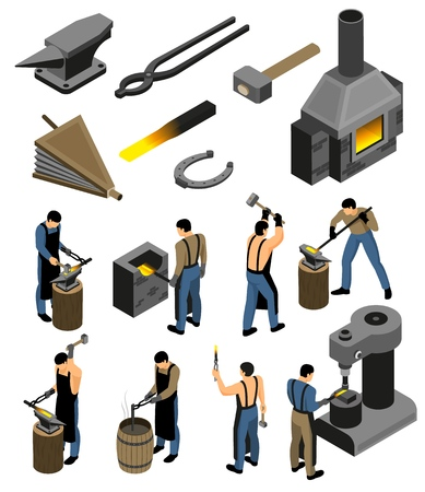 Isometric blacksmith set with isolated images of forging shop facilities and human character of iron forger vector illustration