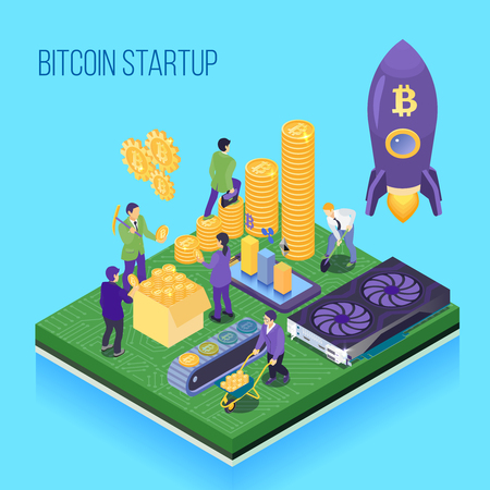 Bit coin start up project, crypto currency mining and transaction, computer hardware, blue background isometric vector illustration