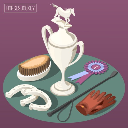 Equestrian sport isometric composition with winner cup horseshoe comb and jockey  accessories vector illustration