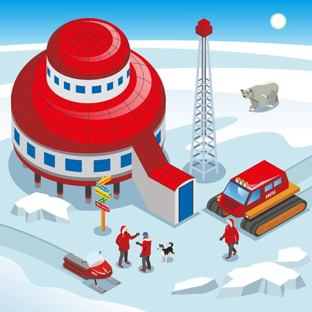 Arctic polar station, scientists with dog, track vehicle, drilling ice equipment on snow background isometric vector illustration