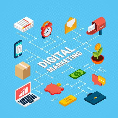 Isometric digital marketing infographics with laptop documents money case messages 3d vector illustration Stock Illustratie