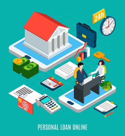 Loans isometric composition of personal loaning online service icons and conceptual images with touch screen gadgets vector illustration