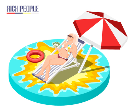 Rich people isometric composition with young woman lying in sun lounger and fanning herself with money fan vector illustration