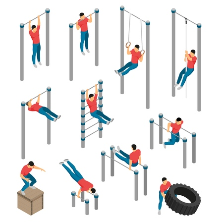 Isometric gym equipment workout set with images of gymnastic apparatus and male human character doing sports vector illustration