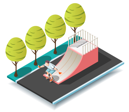 Sports ramp for roller and skateboarders with young sportsman with knee pads on rollers isometric design concept vector illustration