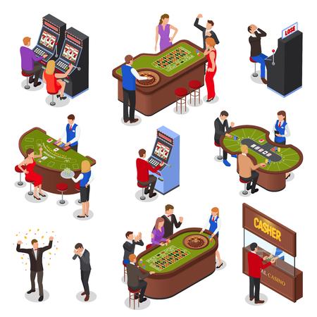 Isometrische Elemente des Casino-Spielzimmers, die mit isolierten Vektorillustrationen der Spielautomaten Roulette Black Jack Kartenspiele gesetzt werden Vektorgrafik
