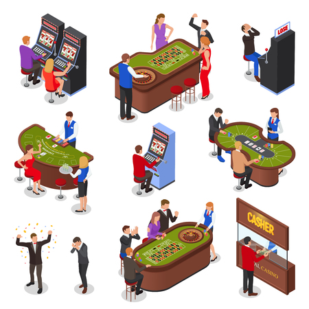 Casino playing room isometric elements set with slot machines roulette black jack cards games isolated vector illustration