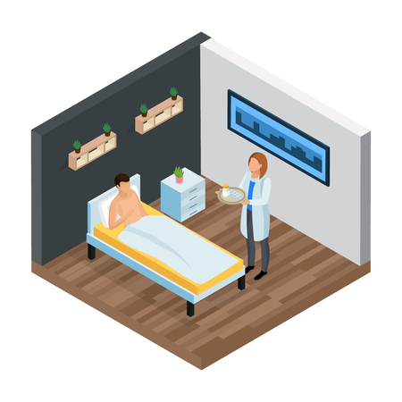 Probiotics isometric composition with view of hospital room patient in bed and doctor with medication pills vector illustration Stockfoto - 102746551