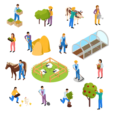 Ordinary farmers life isometric icons collection with isolated images of farming facilities plants and farm workers vector illustration Reklamní fotografie - 102746552