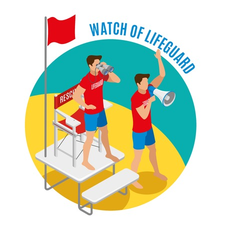 Watch of lifeguard round design concept with two savers near rescue chair holding binocular and loudspeaker isometric vector illustration