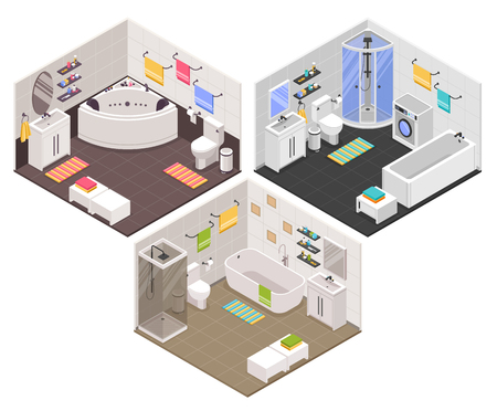 Modern bathroom interiors isometric set with straight oval corner bathtubs shower cabins cubicles toilet units Vector illustration Archivio Fotografico - 102890577