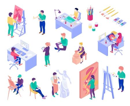Creatieve beroepskunstenaar, pottenbakker, grafisch ontwerper, beeldhouwer, reeks isometrische mensen geïsoleerde vectorillustratie