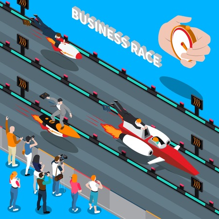 Business race isometric composition with chronometer counting time to reach success of competitive businessmen vector illustration Illustration