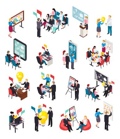 Business coaching isometric icons, creative idea, expert lectures and mentoring, online training, brain storm isolated vector illustration