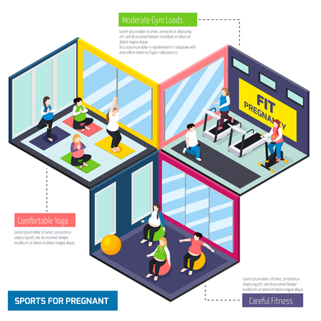 Sports for pregnant women, careful fitness, comfortable yoga and exercises on training equipment isometric vector illustration