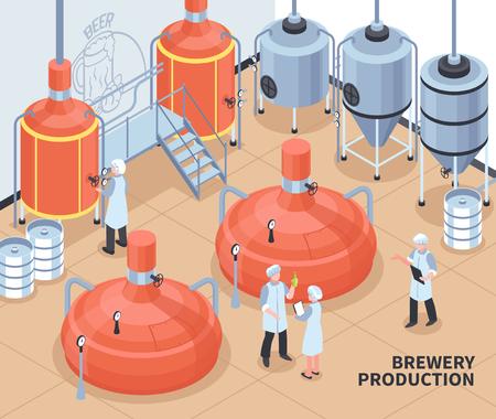 Composición isométrica del proceso de producción de cerveza de la cervecería con personal que controla el bloque caliente y la ilustración de vector de cartel de cubas de fermentación