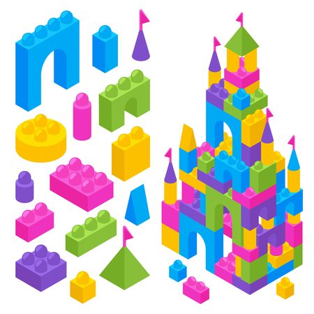 Children toy constructor isometric advertising composition with colorful building blocks and castle from plastic bricks vector illustration