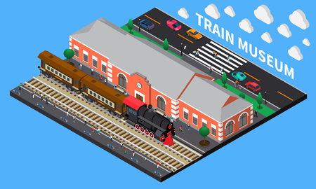 Train museum isometric composition with diesel locomotive and brick station building in retro style vector illustration
