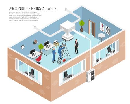 Illustrazione di ufficio di servizio di condizionatori d'aria con testo modificabile e vista in spaccato di edificio con illustrazione di vettore di persone