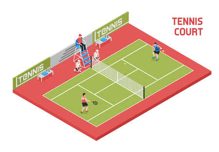 Sport field tennis court isometric composition with 2 players ball boys and referee in tall chair vector illustration