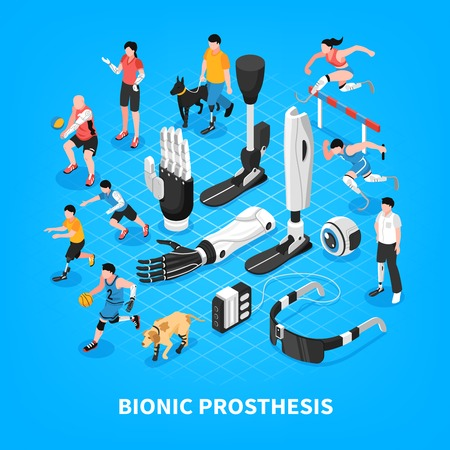 Bionic prothesis isometric composition with robotic arm athletic blade runners artificial limbs vision blue background vector illustration